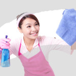 young housewife woman mother cleaning,  asian
