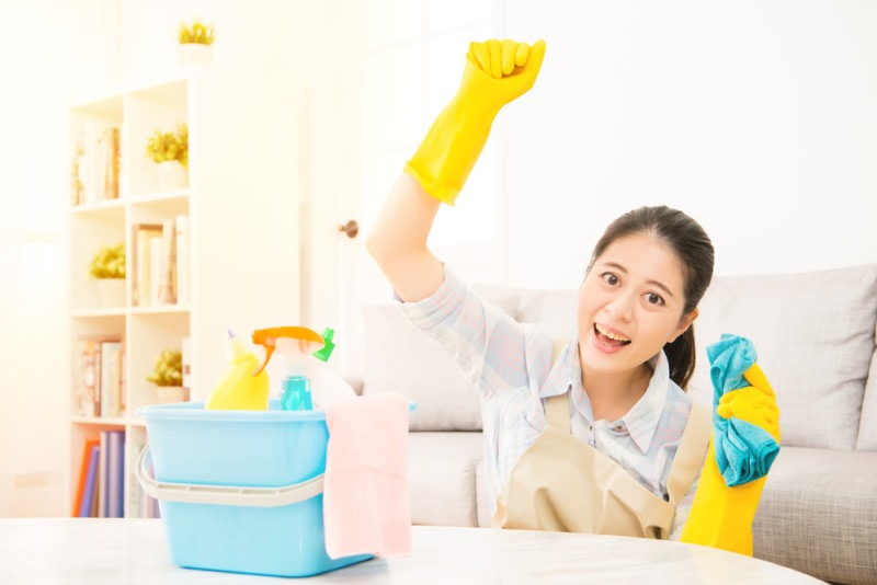 Happy woman celebrate finished cleaning