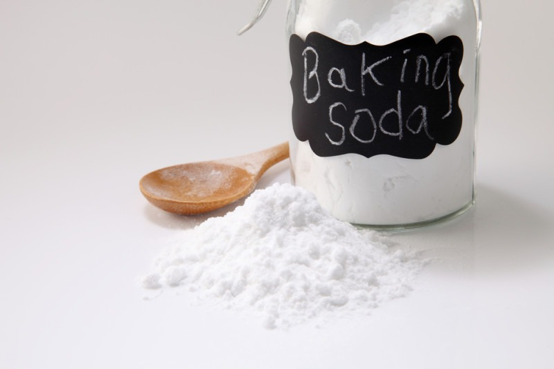 baking soda on the white background