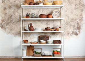 Storage stand with kitchenware, indoors